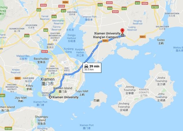 Xiamen University campus map